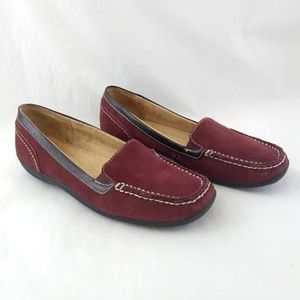 Naturalizer 7.5 Loafers Maroon Red Suede Leather